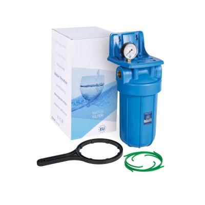 Магистральный корпус 10BB, синий, с вздушным клапаном, манометр, резьба 1