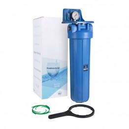 Магистральный корпус 20BB, синий, с воздушным клапаном, манометр, резьба 1