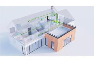 Центральная вентиляция с рекуперацией тепла и зелеными воздуховодами